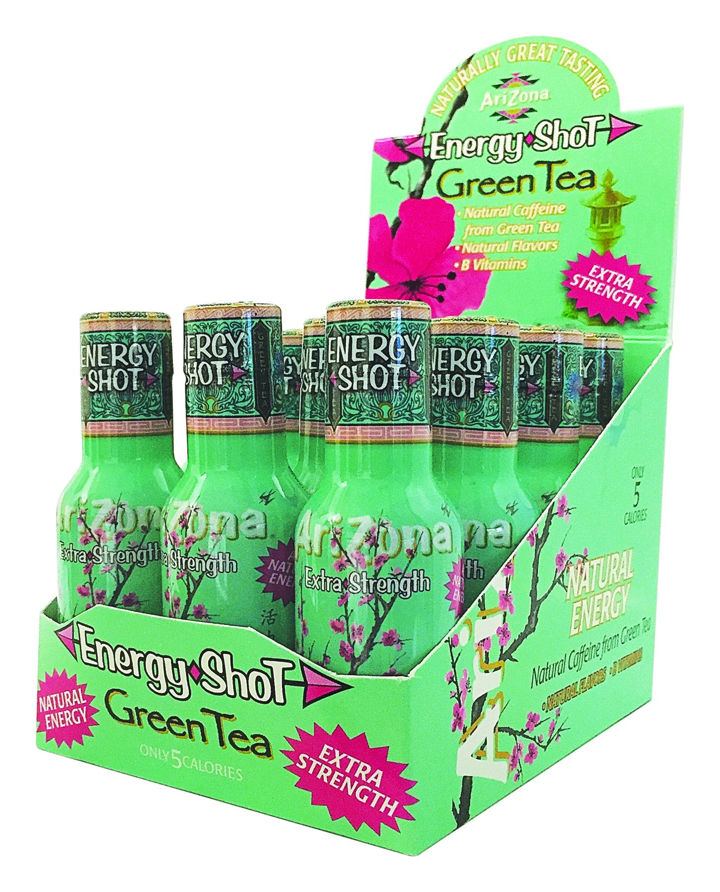 AriZona Extra Strength Energy Shot Green Tea w/ Honey, 2oz bottle (48 Count), Caffeine Boost Shot, With Green Tea Derived Caffeine, The Same Amount of Caffeine as a Cup of Coffee by Arizona