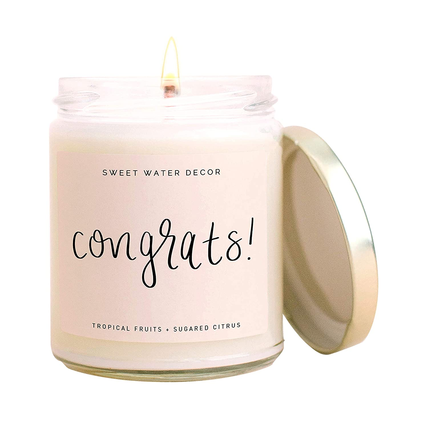 Sweet Water Decor, Congrats! Tropical Fruits and Sugared Citrus Island Scented Soy Wax Candle for Home   9oz Clear Glass Jar, 40 Hour Burn Time, Made in the USA