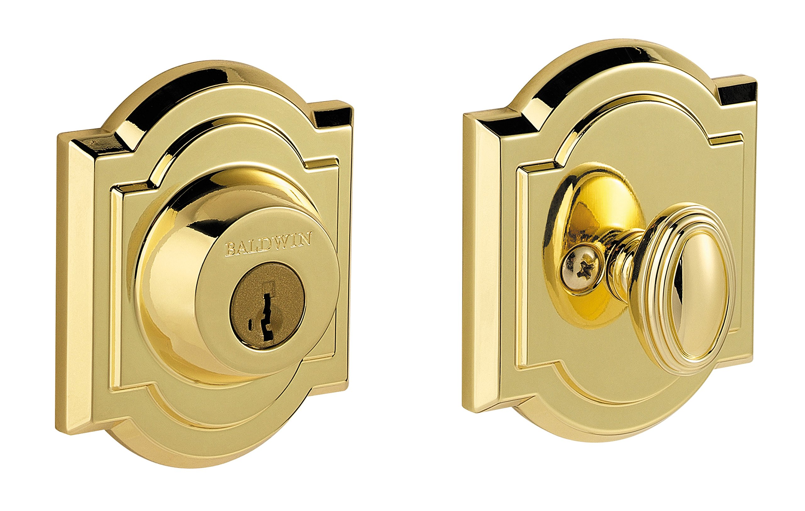 Baldwin Prestige 380 Arched Single Cylinder Deadbolt Featuring SmartKey in Lifetime Polished Brass by Baldwin (Image #1)