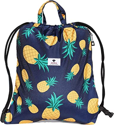 Water Waves Drawstring Backpack Sports Athletic Gym Cinch Sack String Storage Bags for Hiking Travel Beach