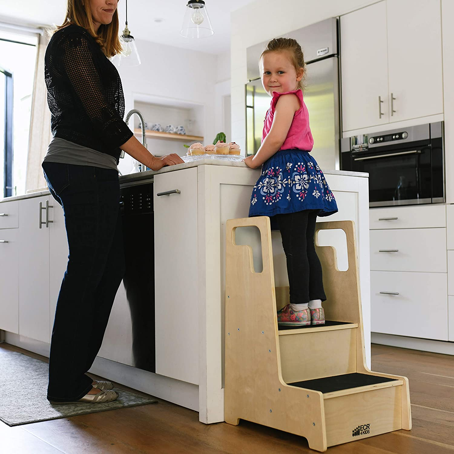 Two Step Wood Stepping Stool for Kids and Toddlers ECR4Kids Reach-Up Step Stool with Support Handles