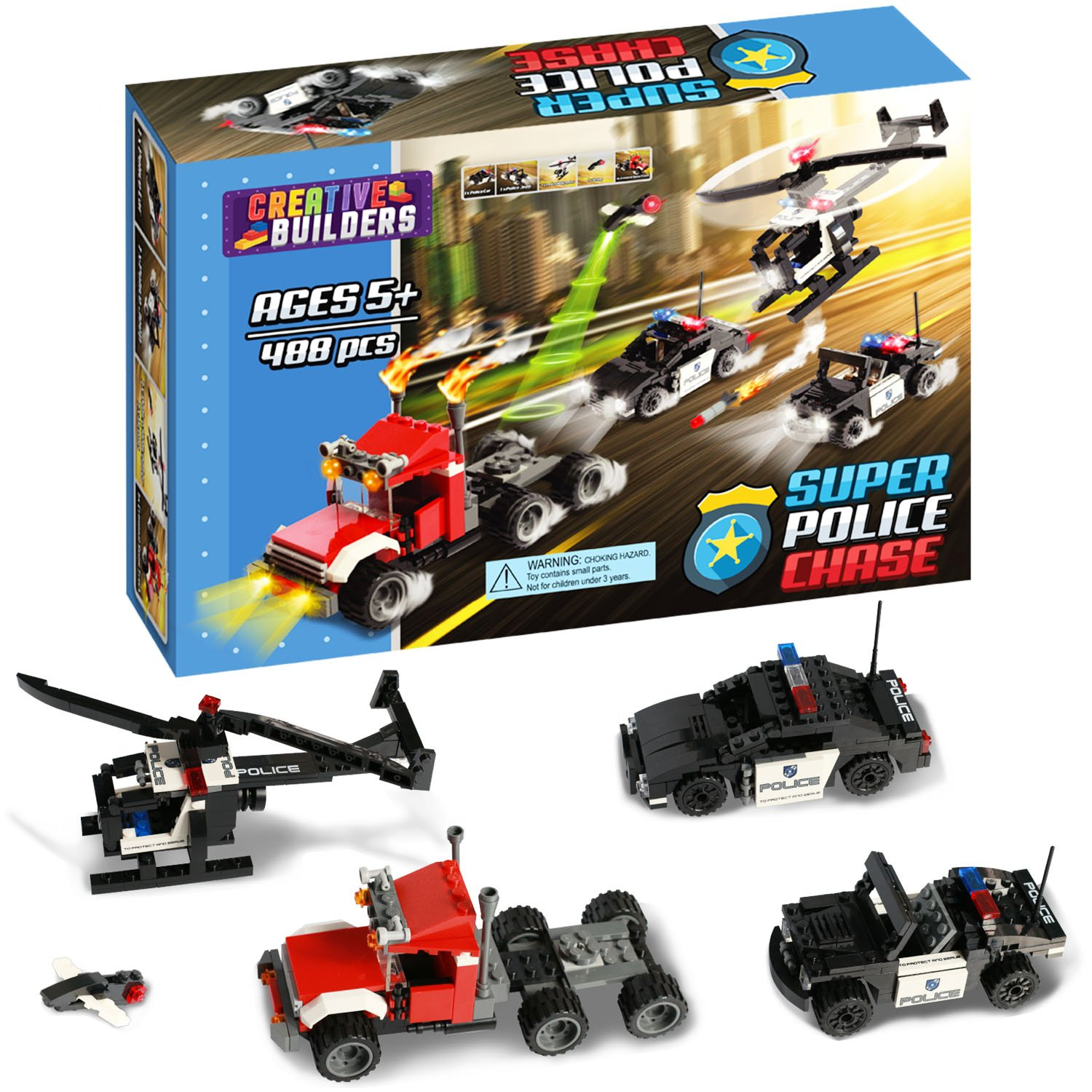 488 Pieces, Super Police Chase, Includes Car, Helicopter