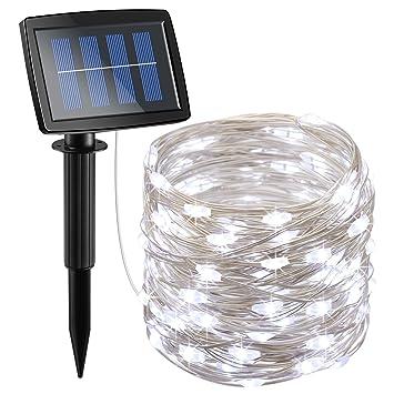 Amazon Com Amir Solar Powered String Lights 150 Led 2 Modes Steady