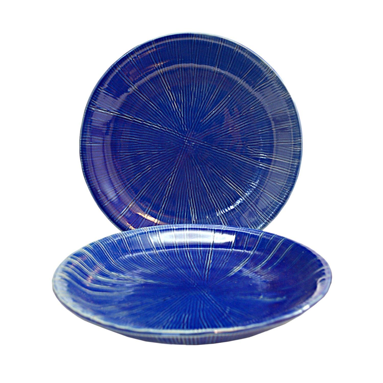 RoRo Cobalt Blue Handmade Ceramic textured Stoneware Appetizer Plate, 8 Inch Set of 2