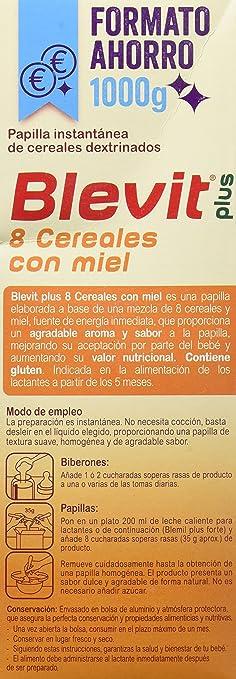 Blevit Plus 8 Cereales con Miel - Paquete de 2 x 500 gr - Total: 1000 gr: Amazon.es: Alimentación y bebidas