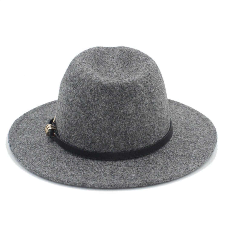LL Womens Mens Wide Brim Fedora Hat for Lady Cashmere Church Cap Gentleman Felt Hat