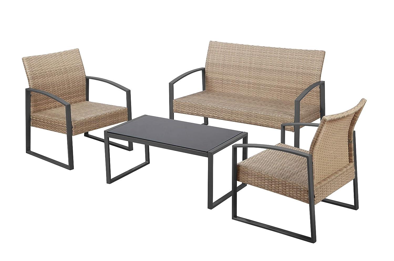 Havnyt - Juego de 4 Asientos de ratán para jardín o Patio, con sofá de 2 plazas y 2 sillones en Metal Gris con Mesa de café, Color Gris: Amazon.es: Jardín
