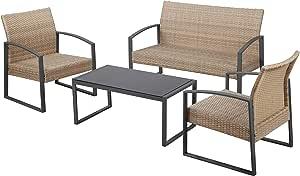 Havnyt - Juego de muebles de ratán para jardín: 2 butacas, sofá de 2 plazas y mesa de centro de metal. Conjunto de muebles de jardín para 4 personas con reposabrazos y