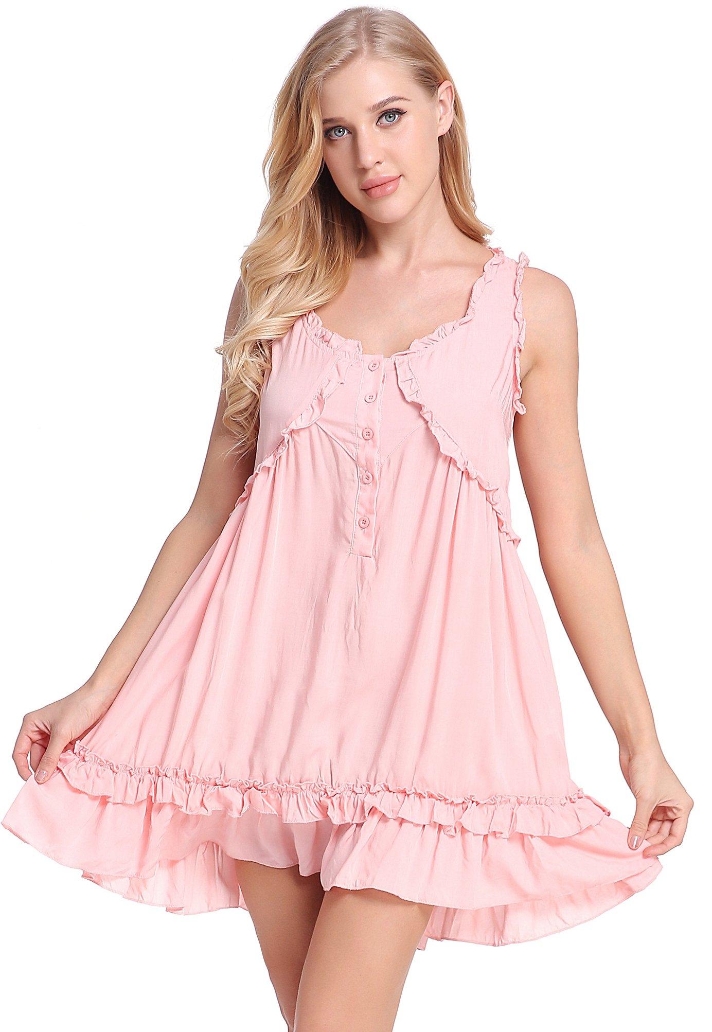 NORA TWIPS Victorian Style Nightgown for Women Sleeveless Sleepwear Ruffle Short Dress (Pink,M)