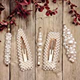 Pearls Hair Clips for Women Girls,Hair Barrettes Pins for Birthday Valentines Day Wedding Bridal Bridesmaid Faux Beauty Snap Clips Jewelry Headpiece Gifts-Fashion Gold (5pcs)