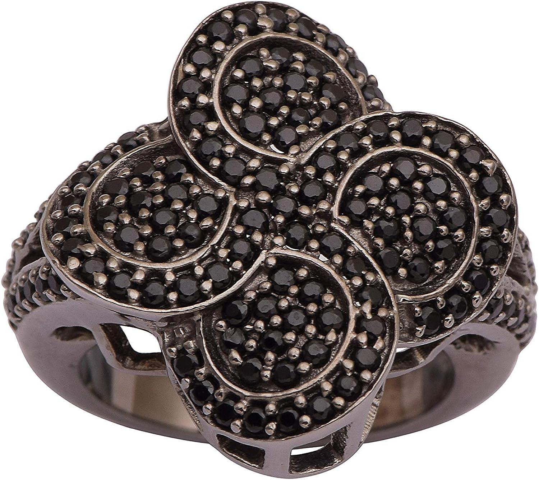 Shine Jewel Espinela de Plata de Ley 925 con Piedras Preciosas Anillo de rodio Negro (N)