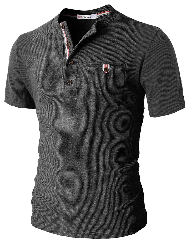 【H2H】 メンズ カジュアル ファッション ワッフル ヘンリー Tシャツ ポケット付き CMTTS0147 B00XMRCVVY S|Cmtts0147-charcoal Cmtts0147-charcoal S
