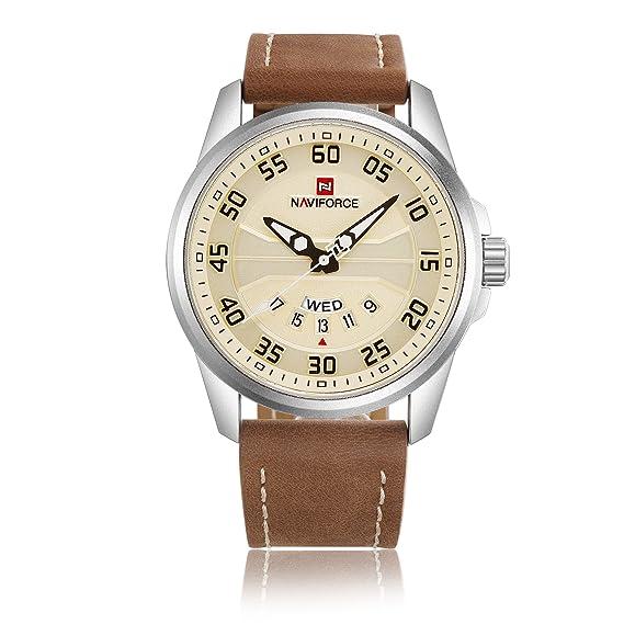 Naviforce - Reloj de Pulsera para Hombre, Cuarzo, Correa de Piel, Calendario (