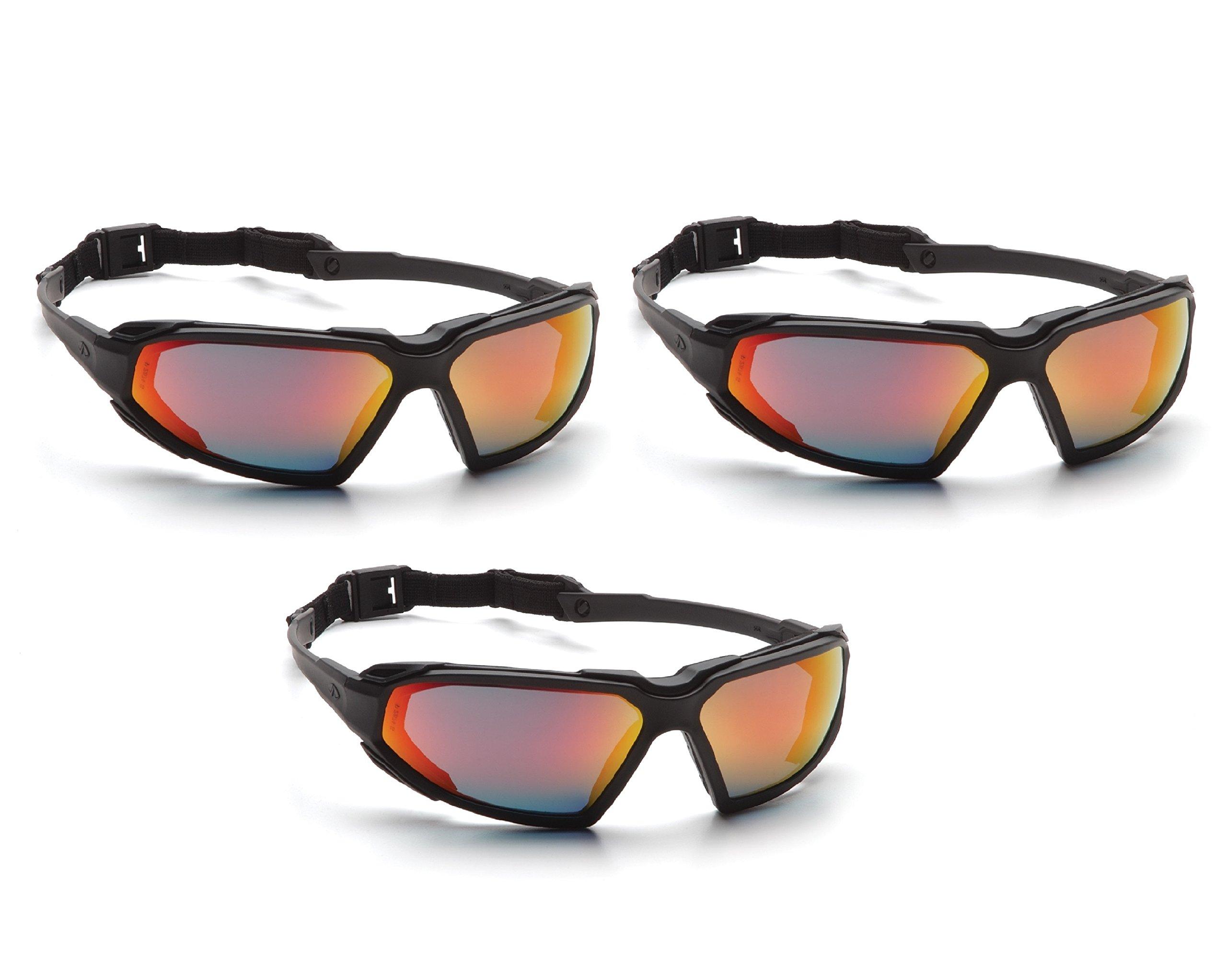 Highlander Safety Glasses Pyramex SBB5055DT (Black Frame/Sky Red Mirror Anti-Fog Lens) (3) by Highlander