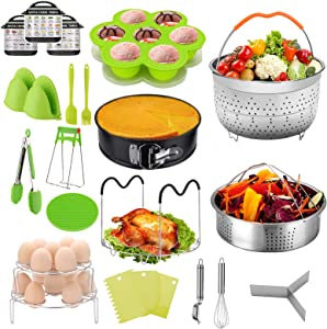 23PCS Pressure cooker accessories Instant Pot Accessories Compatible 5,6,8 Qt, 2 Steamer Baskets, Springform Pan, Egg Steamer Rack, Kitchen Tong, Silicone Pad, Oven Mitts, Cheat Sheet Magnet, and etc