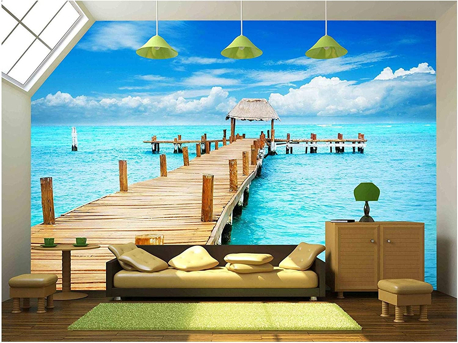 Wall26 Vacation In Tropic Paradise Jetty On Isla Mujeres Mexico Removable Wall Mural Self Adhesive Large Wallpaper 66x96 Inches Amazon Com