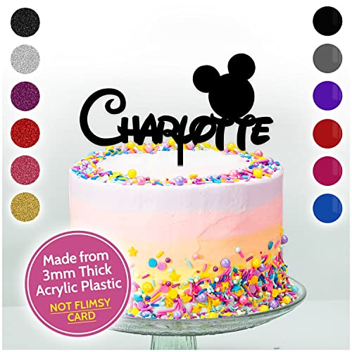 DISNEY THEMED Mickey Mouse Personalised ANY NAME Cake Topper Birthday Kids