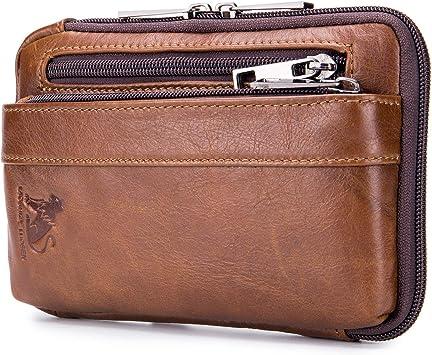 Men/'s Genuine Leather Belt Waist Bag Phone Pouch Shoulder Messenger Fanny Pack