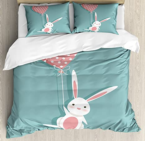Amazon Com Lunarable Doodle Duvet Cover Set Bunny Holding A Heart Shaped Balloon With Dots Romantic Rabbit In Love Decorative 3 Piece Bedding Set With 2 Pillow Shams King Size Seafoam White Home