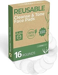 Reusable Makeup Remover Pads (Machine Washable) - Eco Cotton Rounds for Face - Soft Reusable Rounds, Washable Makeup Remover Pads, Reusable Cotton Rounds, Reusable Makeup Pads - Organic Bamboo -16pk
