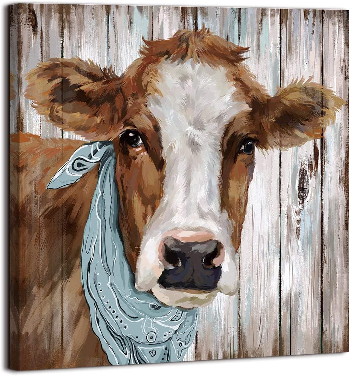Cow canvas decor, farmhouse wall art pictures for Bathroom Bedroom Living Room Kitchen Wall Decor (COW, 14