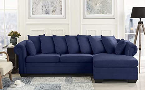 Modern Large Microfiber Sectional Sofa, L-Shape Couch with Extra Wide Chaise Lounge (Navy)