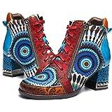 gracosy Botines de cuero para mujer con forro cálido y patrón de empalme botas de nieve con cremallera lateral y tacón de blo