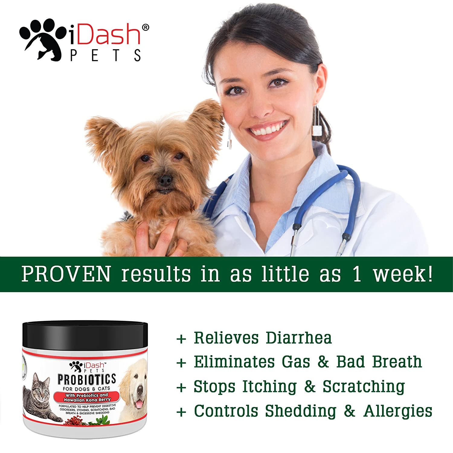 Amazon.com : iDash Pets Advanced Probiotics for Dogs and Cats by ... | Dog Food Allergy Bad Breath