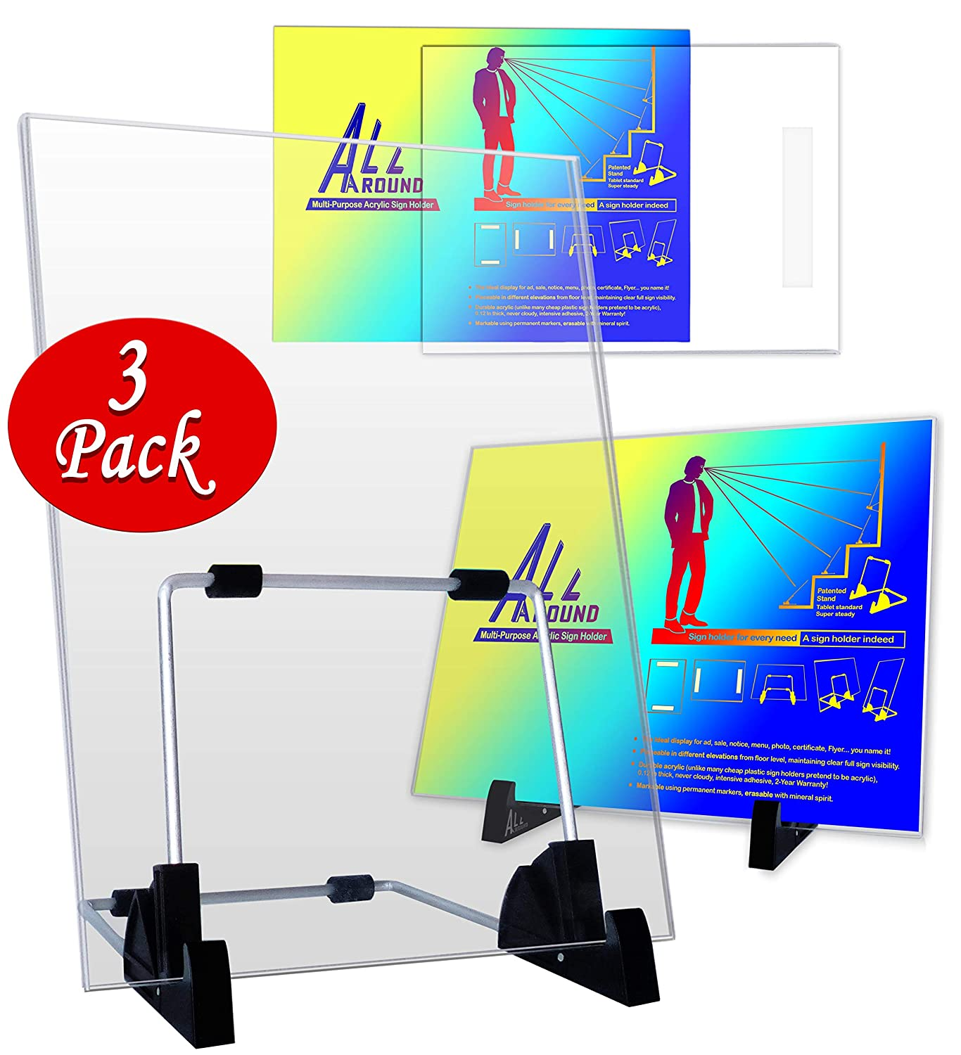 Customisable A4 Perspex Display Stand Double Sided Wall Mounted Landscape Portrait Lean Back Angle Menu Sign 3 mm 3-Pack 2-Year Warranty