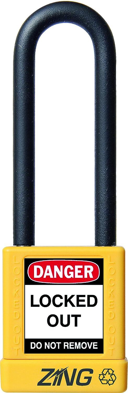 1-3//4 Body Orange ZING 7059 RecycLock Safety Padlock 3 Shackle Keyed Alike