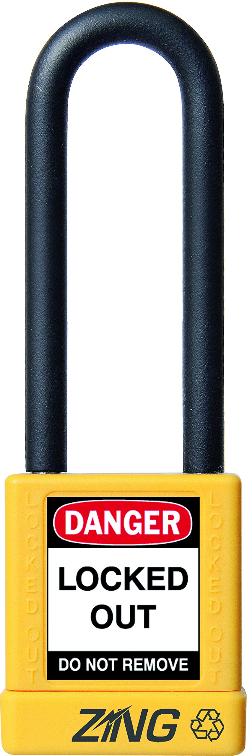 ZING 7054 RecycLock Safety Padlock, Keyed Different, 3'' Shackle, 1-3/4'' Body, Yellow