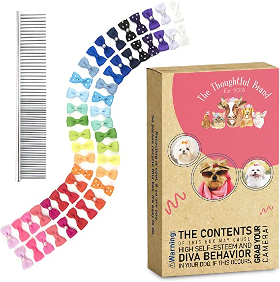 Puppy Bows ~ Special offer Lot box full of dog bows  barrette bow hair clips for pets FREE SHIPPING ~USA seller