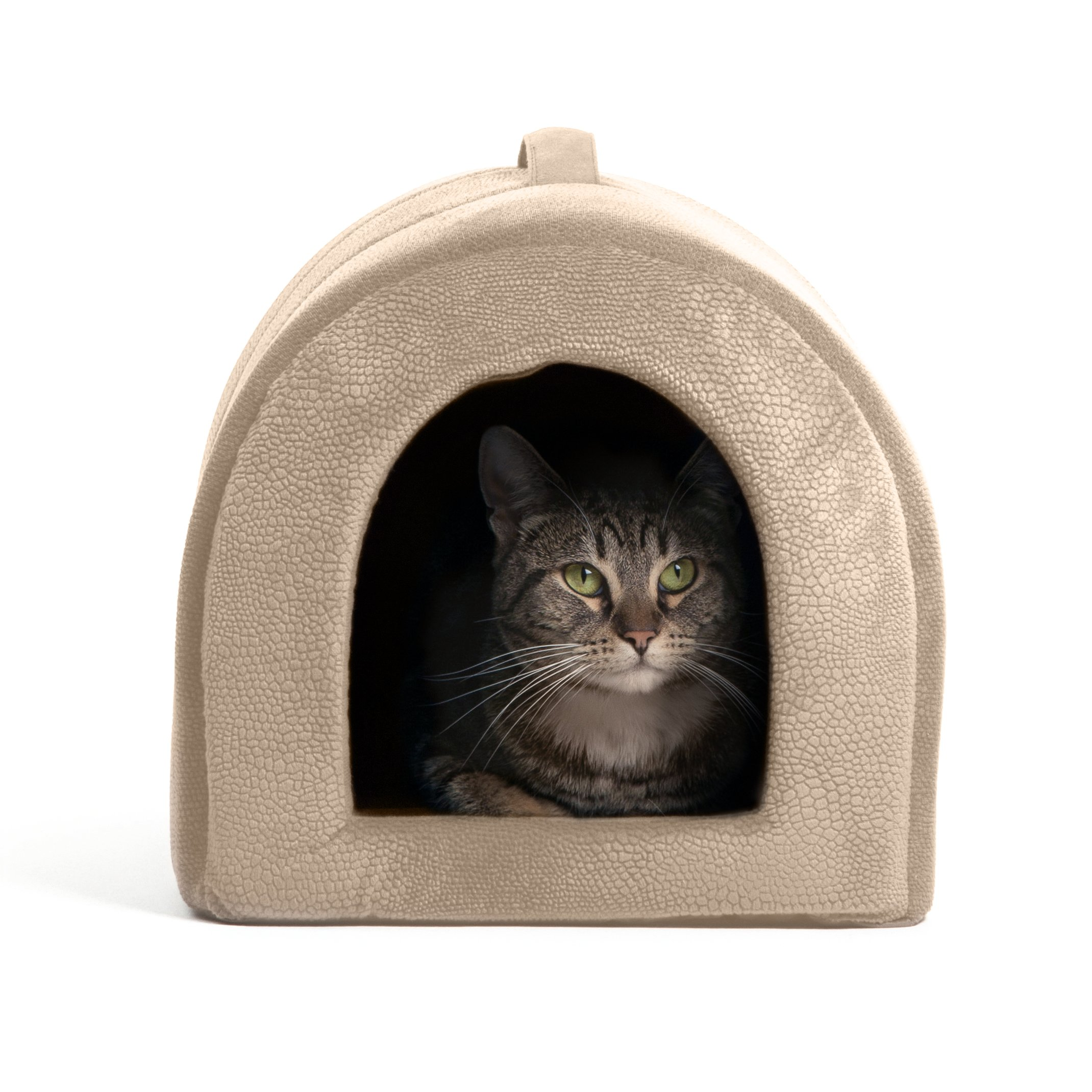 Best Friends by Sheri Pet Igloo Hut, ilan, Wheat - Cat and Small Dog Bed Offers Privacy and Warmth for Better Sleep - 17x13x12 - For Pets 9lbs or Less