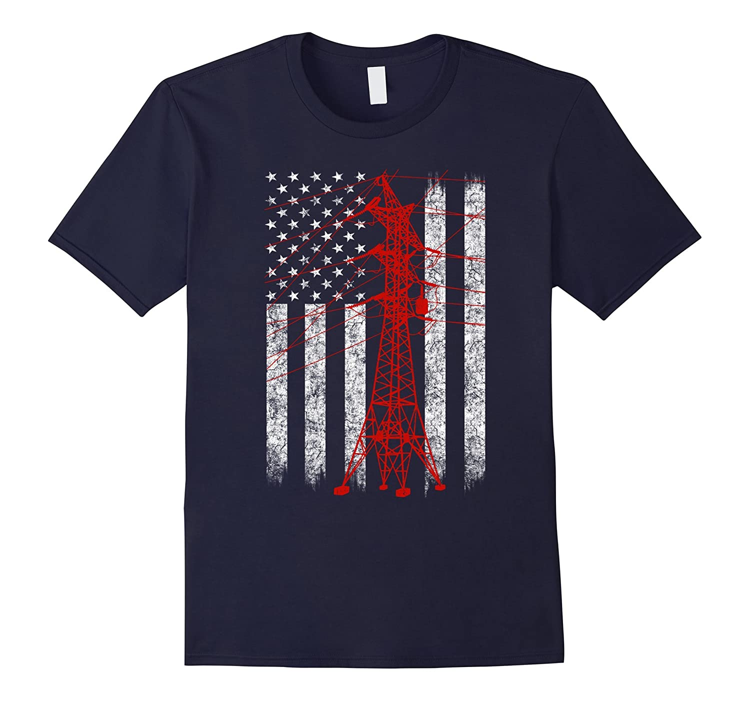 Red Transmission Tower American Flag Lineman T-shirt-RT