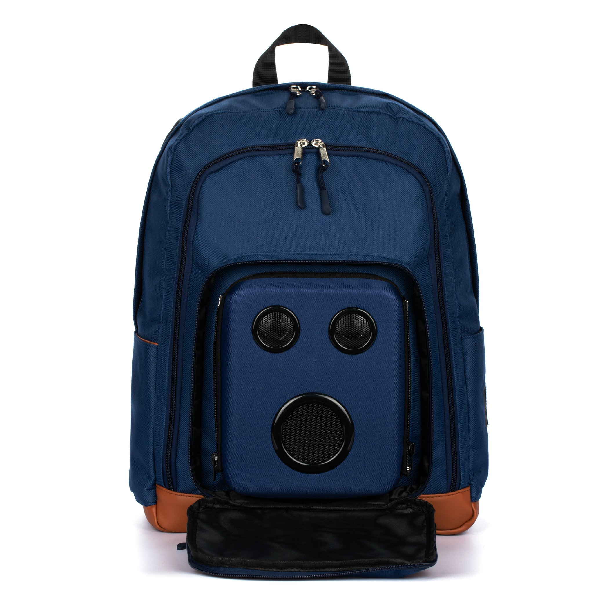 Super Real Business Bluetooth Speaker Backpack With 15-Watt Speakers & Subwoofer for Parties/Festivals/Beach/School. Rechargeable, Works with iPhone & Android (Blue, 2018 Premium Edition)