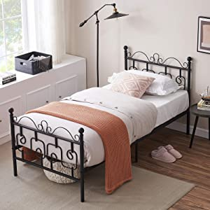 SYMY Metal Twin Bed Frame, Sturdy 6 Legs, Two Headboards and Metal Steel Support for Bedroom Living Room,Black