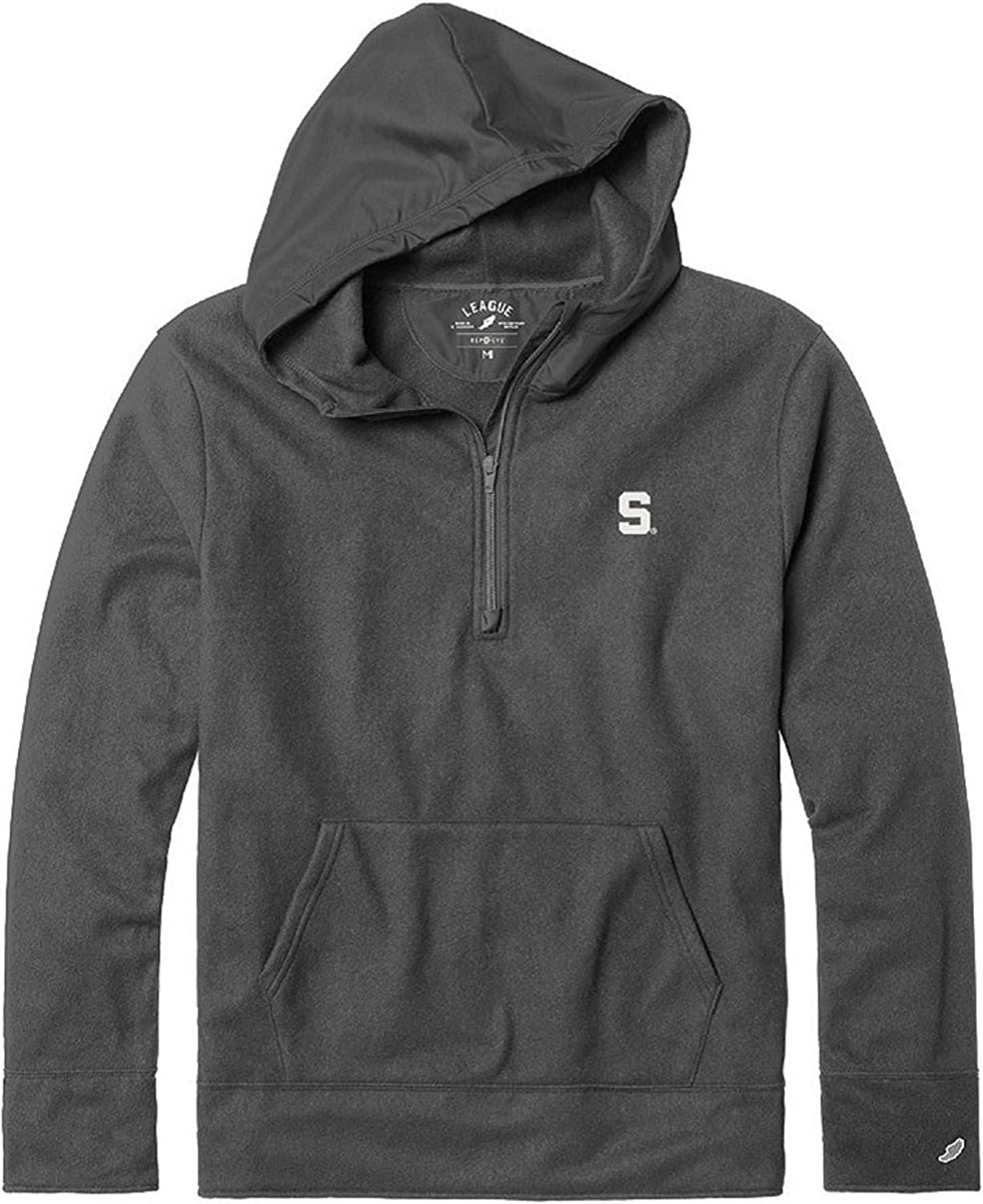 X-Large NCAA League Mens Michigan State Spartans Archive Hooded 1//4 Zip Graphite