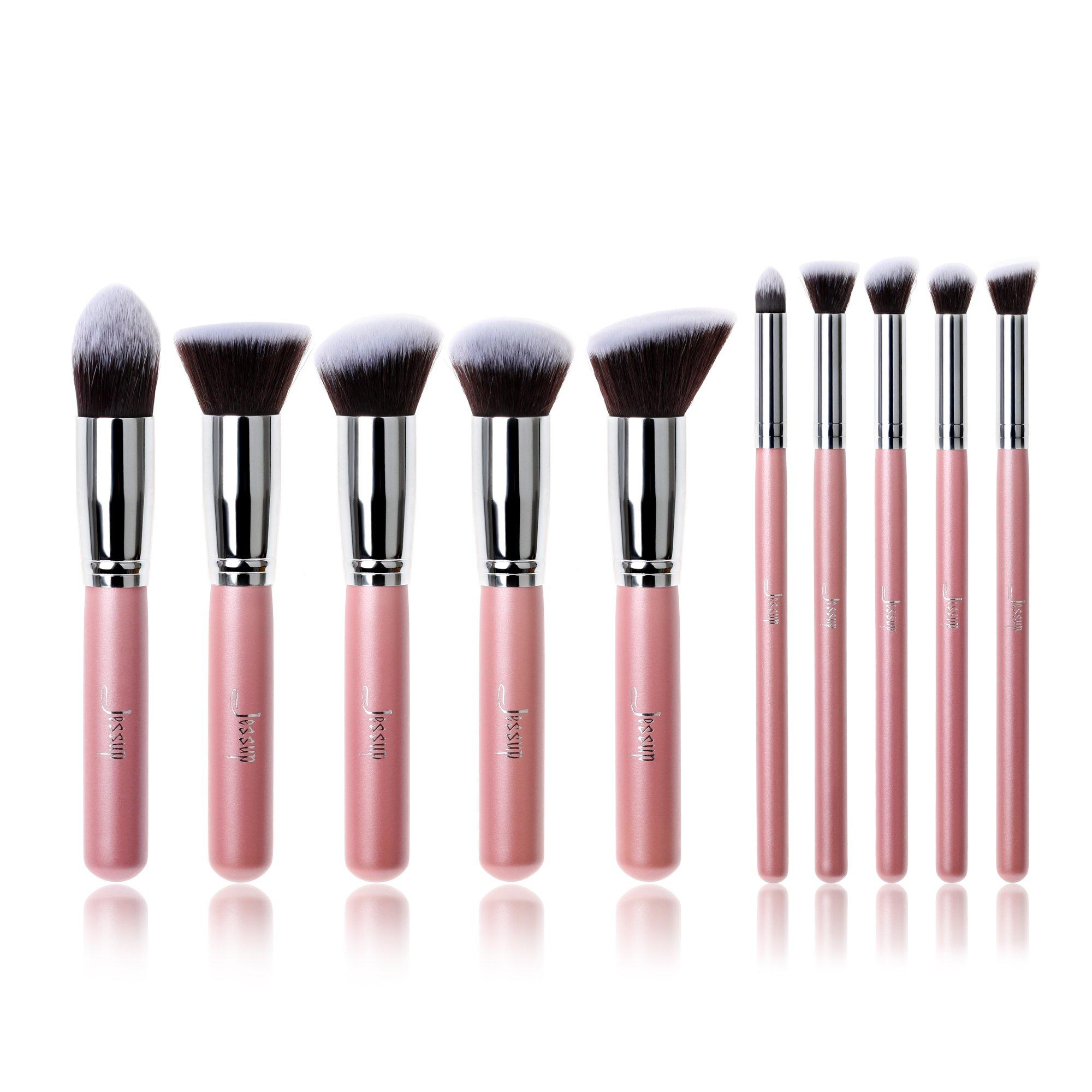 abef50b67ab Jessup Kabuki 10pcs Pink/Silver Cosmetics Makeup Brush Tools kit Buffer  Eyeliner Blending Eye Concealer