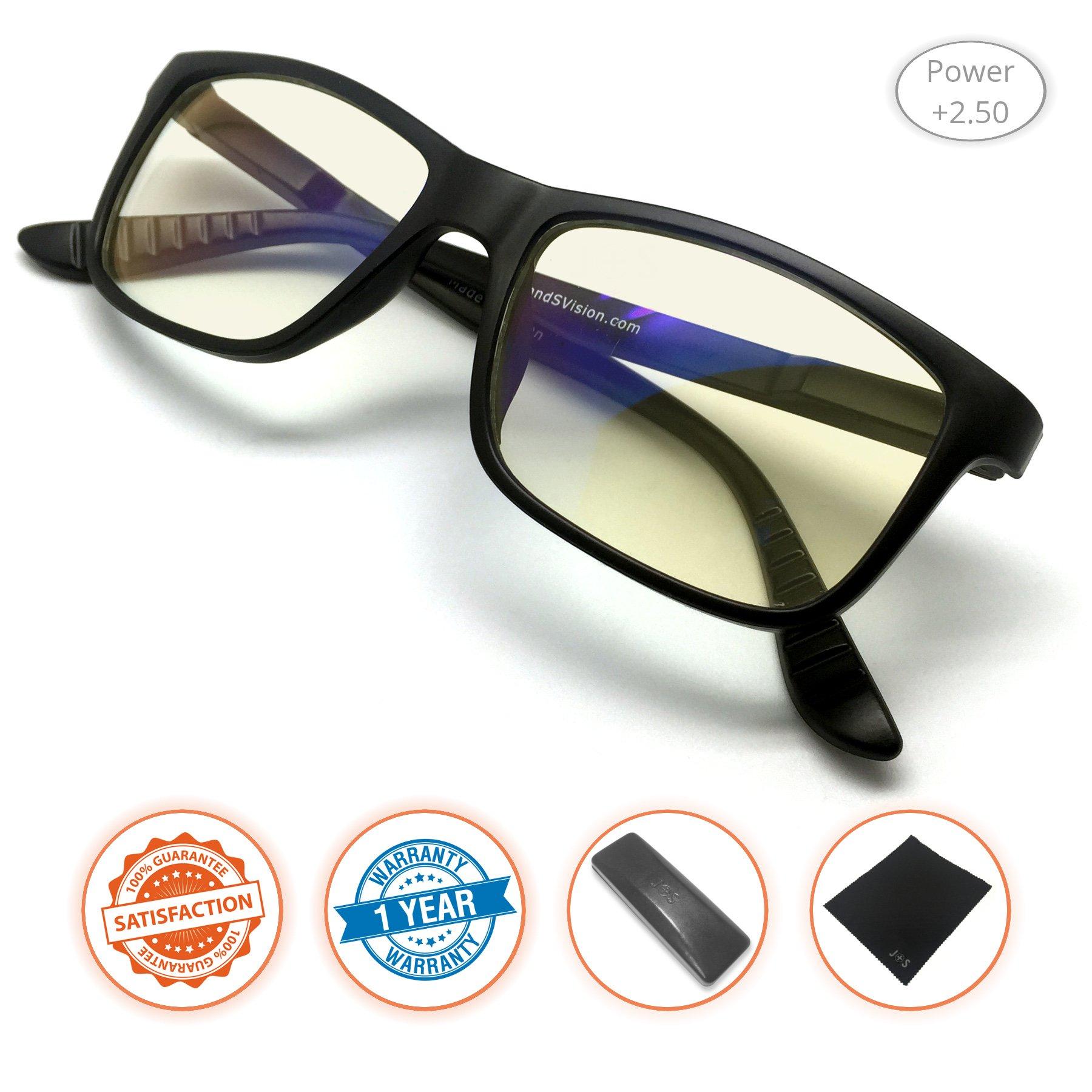 Amazon Com J S Vision Reading Glasses With Anti Blue