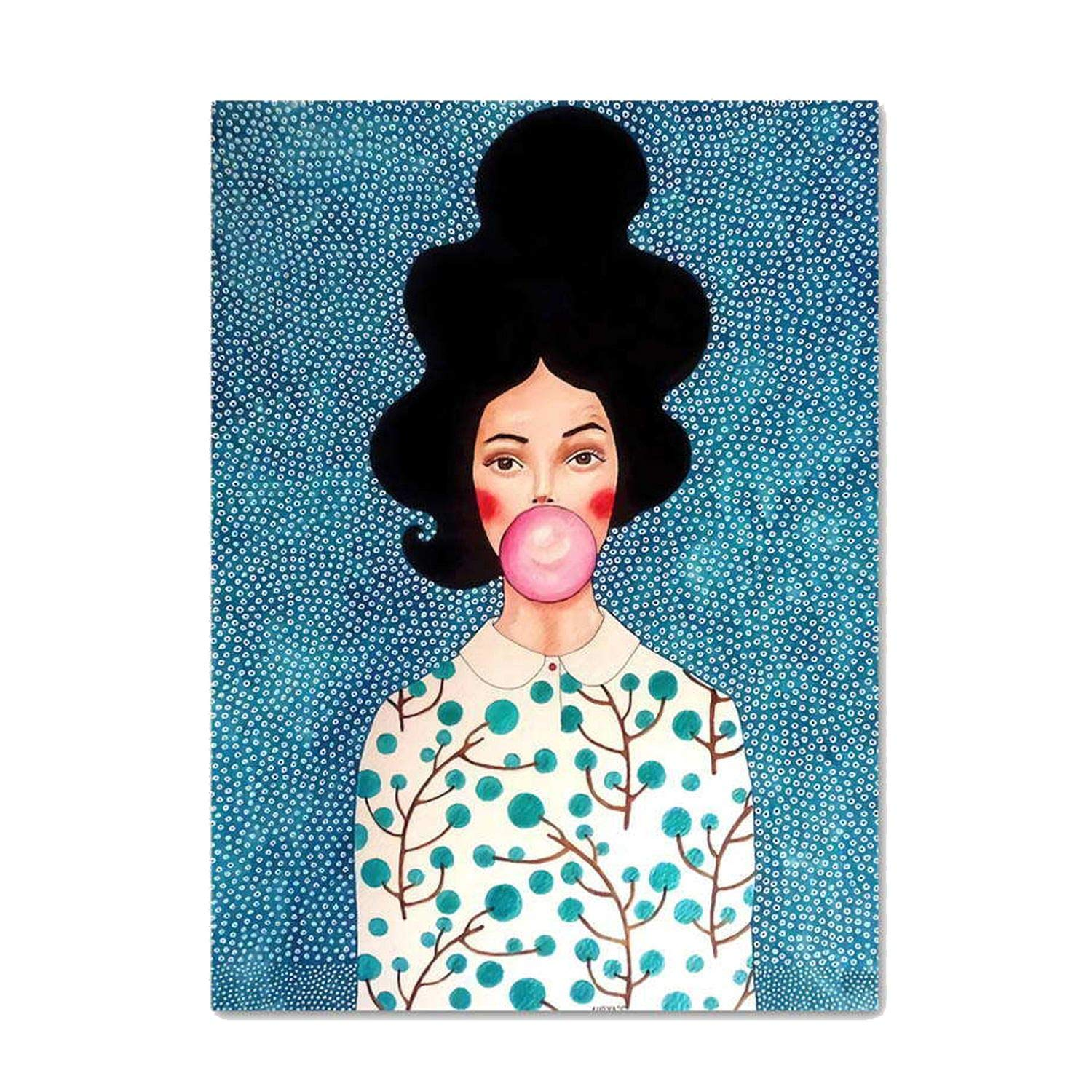 ABBY CHAMBERS Abstract Retro Girl Wall Art Canvas Painting Nordic Posters and Prints Wall Pictures Home Decor,50x70 cm No Framed,L53