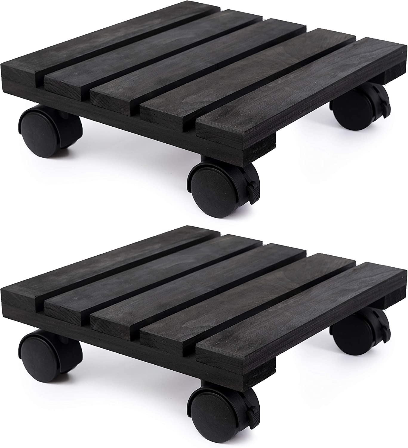 DECOLUXES Lockable Patio Outdoor Roller Flower Pot 12 Inch Heavy Duty Square Plant Caddy Wooden Stand Wheels, Torched Wood (Set of 2, Black)