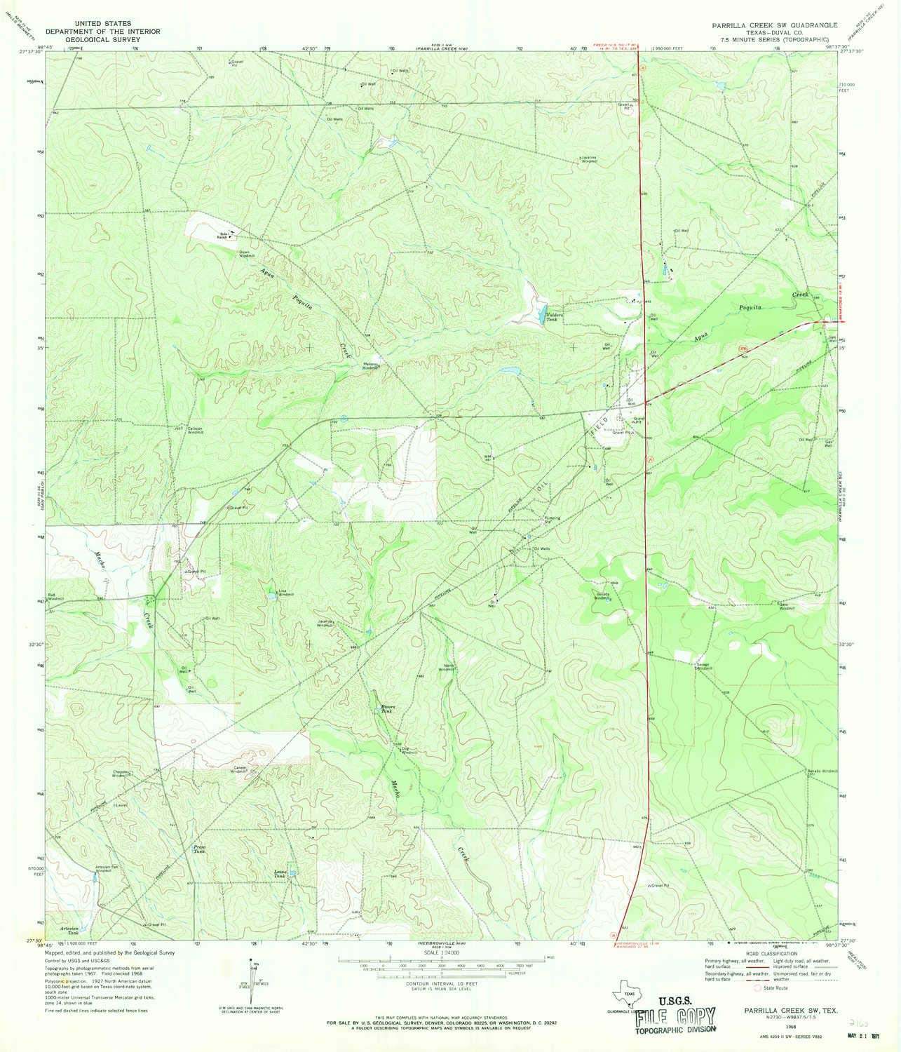 Amazon.com : YellowMaps Parrilla Creek SW TX topo map, 1 ...