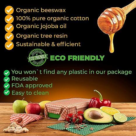 Bienenwachst/ücher,Bienenwachs-Wraps,Wachspapier Wiederverwendbare Wachst/ücher Rolle Umweltfreundliche Bienenwachstuch und Nat/ürliche Wachstuch Lebensmittellagerung H/ält Lebensmittel Frisch