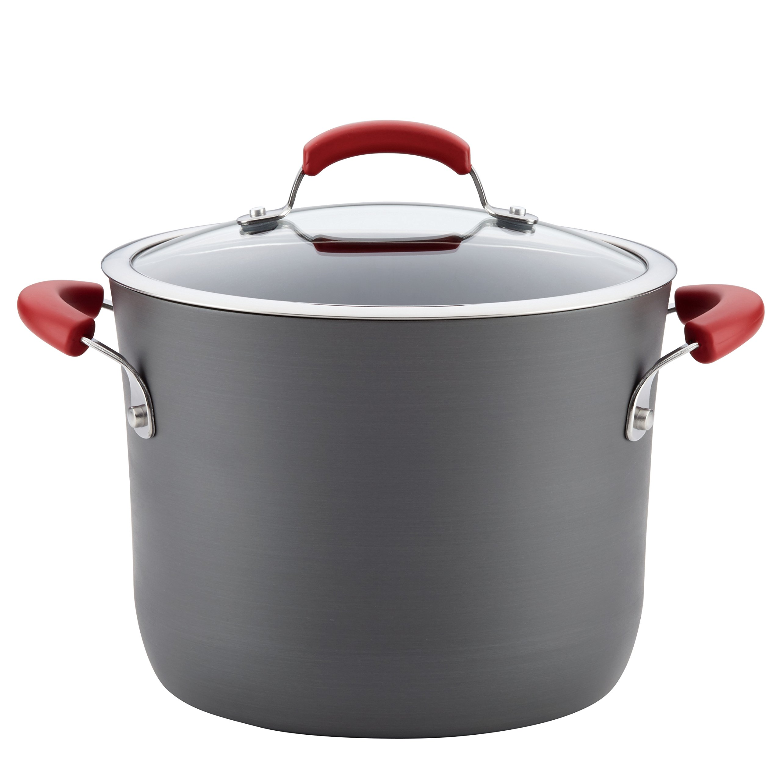 Rachael Ray Hard-Anodized Aluminum Nonstick Covered Stockpot, 8-Quart, Gray with Red Handles by Rachael Ray