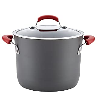 Rachael Ray 82722 Brights Hard Anodized Nonstick Stock Pot/Stockpot with Lid - 8 Quart, Red
