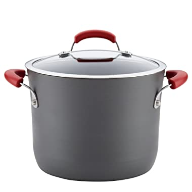 Rachael Ray Hard-Anodized Aluminum Nonstick Covered Stockpot, 8-Quart, Gray with Red Handles