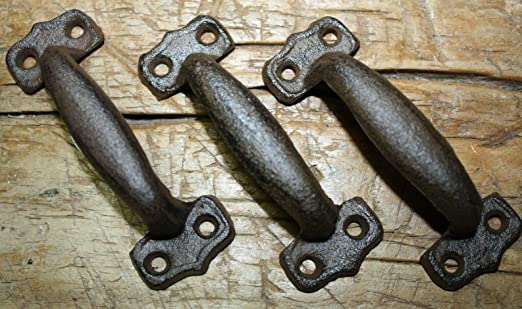 100 Cast Iron TINY Antique Style RUSTIC Barn Handle Gate Pull Shed Door Handles