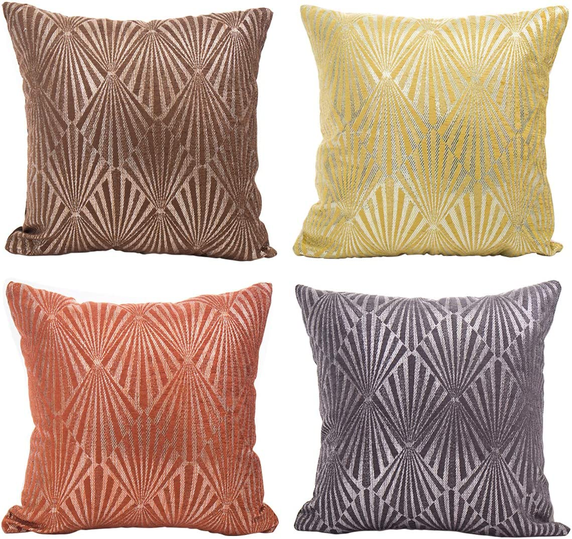 GreatforU Silver Flocking Cushion Covers, Euro Sham Throw Pillow Covers Pillowcase for Sofa Office Car Living Room Home Decoration, 18x18 Inches, Set of 4, 45 x 45 cm, Orange Grey Yellow Coffee Color