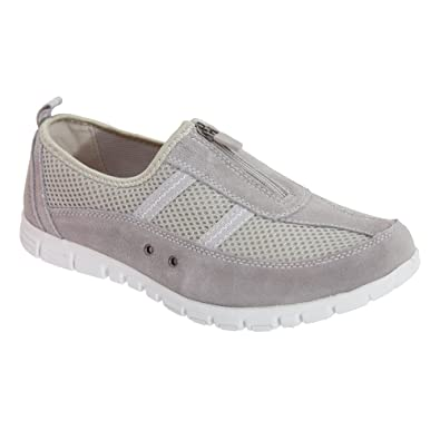 Boulevard Womens/Ladies Wide Fitting Zip Leisure Casual Shoes 4 UK Grey
