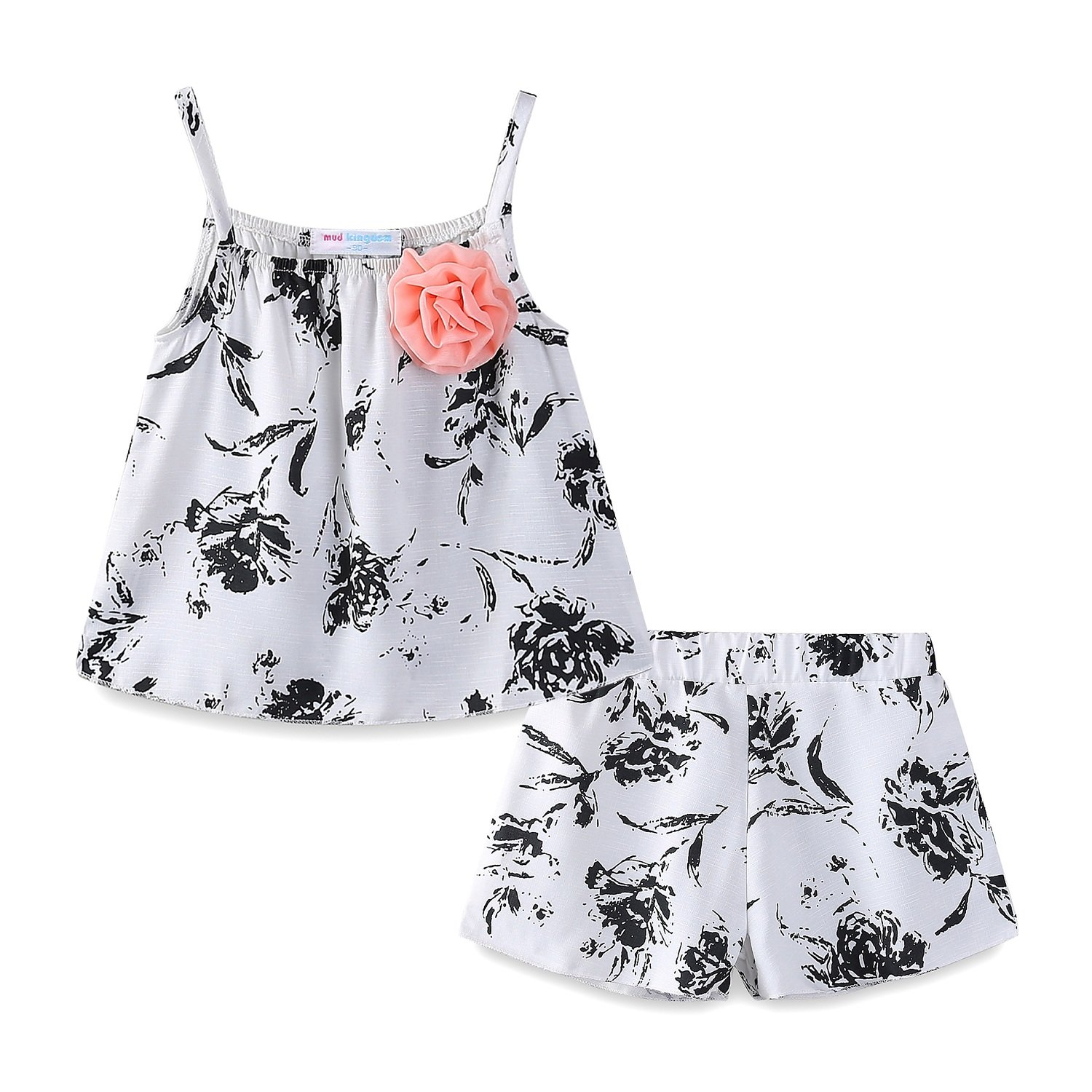 Mud Kingdom Little Girls Outfits Summer Holiday Floral Halter Tops and Short Clothes Sets 3T